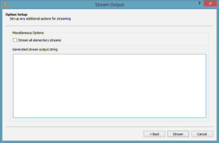 VLC Stream Output Settings